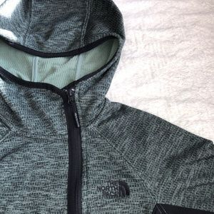 North Face Quilted Green Hooded Jacket